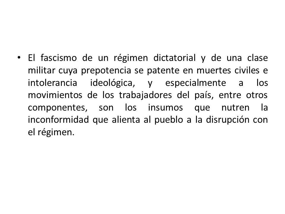 El fascismo de un régimen dictatorial y de una clase militar cuya prepotencia se patente en muertes civiles e intolerancia ideológica, y especialmente
