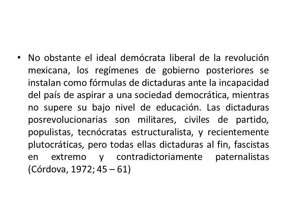 No obstante el ideal demócrata liberal de la revolución mexicana, los regímenes de gobierno posteriores se instalan como fórmulas de dictaduras ante l