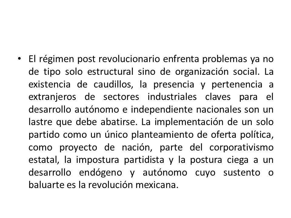 El régimen post revolucionario enfrenta problemas ya no de tipo solo estructural sino de organización social. La existencia de caudillos, la presencia