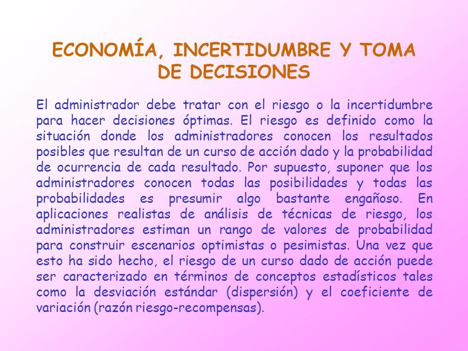 ECONOMÍA, INCERTIDUMBRE Y TOMA DE DECISIONES El administrador debe tratar con el riesgo o la incertidumbre para hacer decisiones óptimas. El riesgo es
