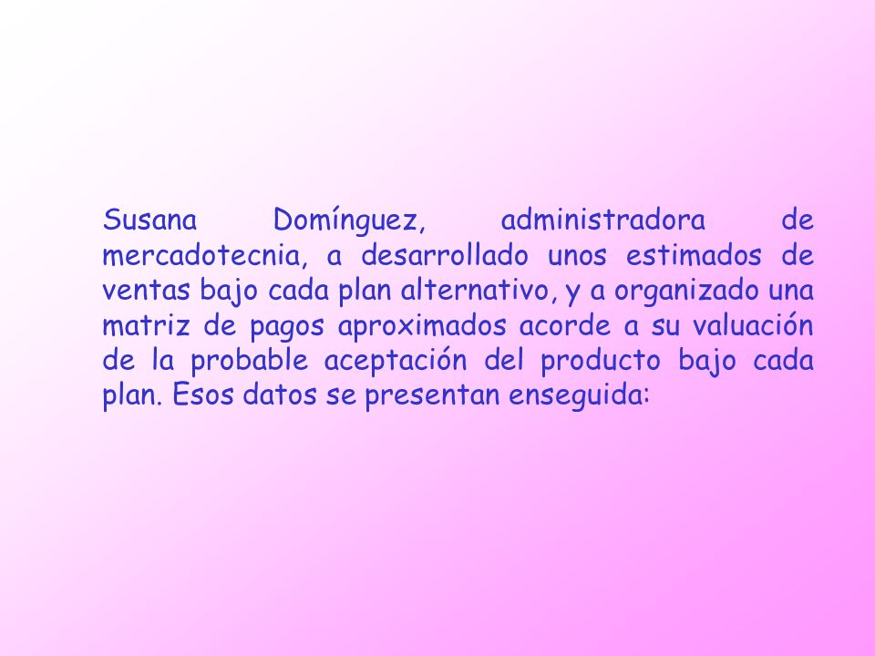 Susana Domínguez, administradora de mercadotecnia, a desarrollado unos estimados de ventas bajo cada plan alternativo, y a organizado una matriz de pa