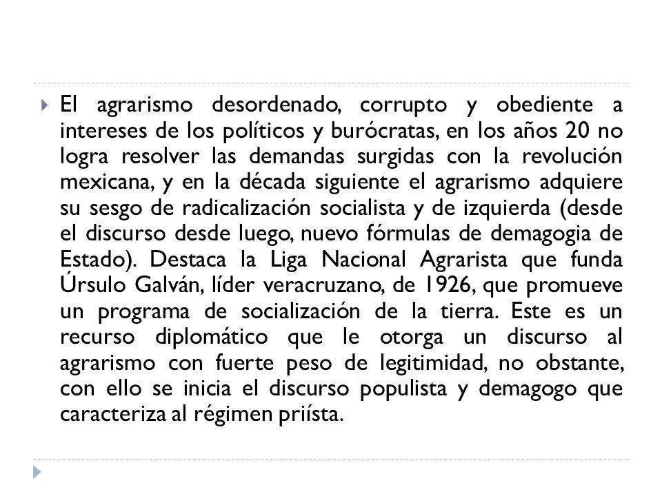 El agrarismo desordenado, corrupto y obediente a intereses de los políticos y burócratas, en los años 20 no logra resolver las demandas surgidas con l