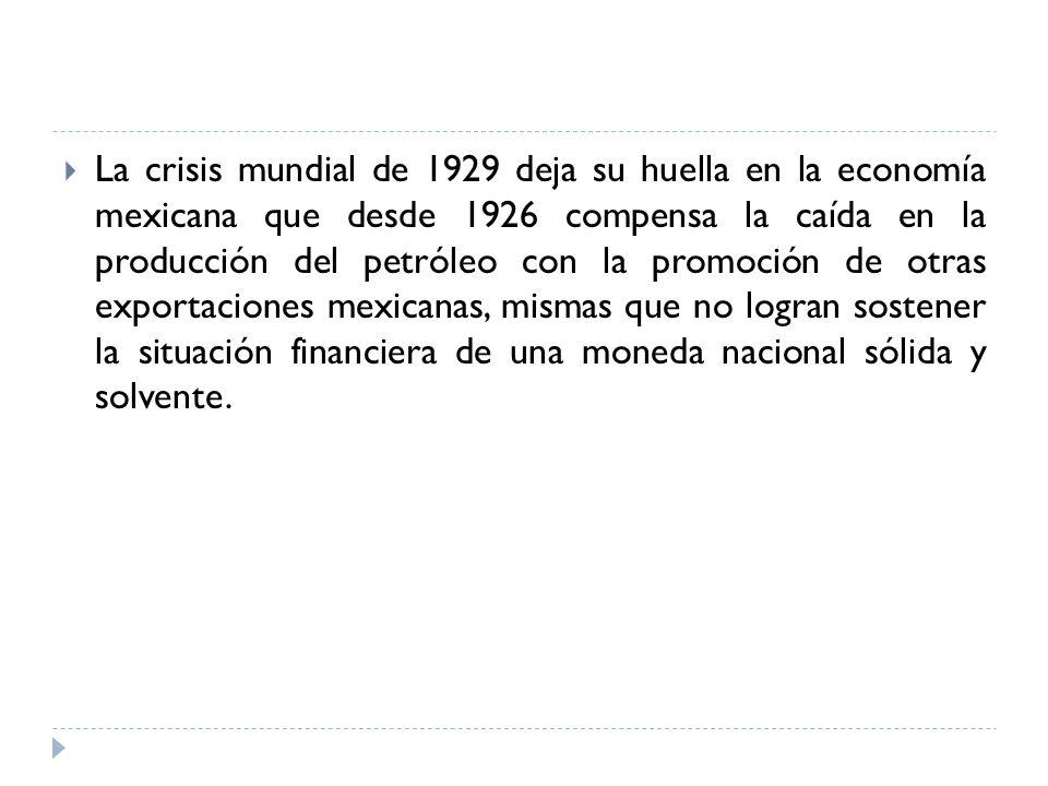 La crisis mundial de 1929 deja su huella en la economía mexicana que desde 1926 compensa la caída en la producción del petróleo con la promoción de ot