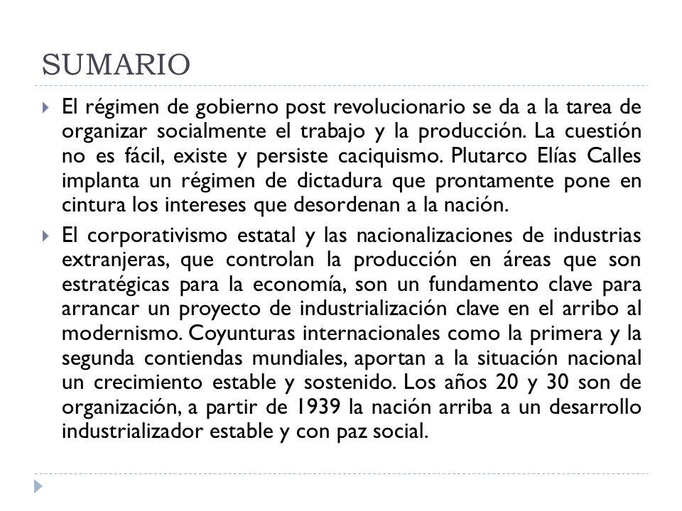 SUMARIO El régimen de gobierno post revolucionario se da a la tarea de organizar socialmente el trabajo y la producción. La cuestión no es fácil, exis