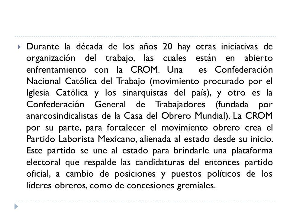 Durante la década de los años 20 hay otras iniciativas de organización del trabajo, las cuales están en abierto enfrentamiento con la CROM. Una es Con