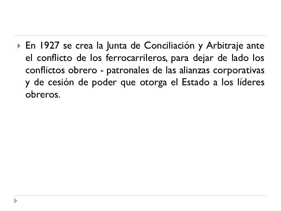 En 1927 se crea la Junta de Conciliación y Arbitraje ante el conflicto de los ferrocarrileros, para dejar de lado los conflictos obrero - patronales d