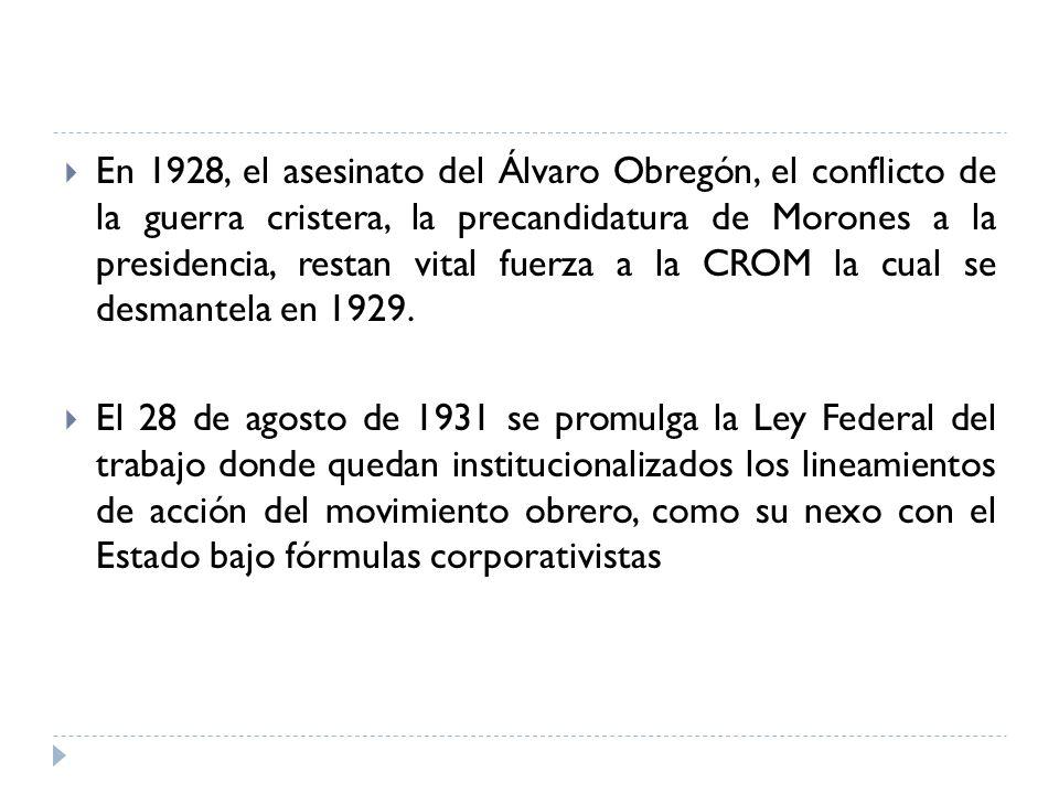 En 1928, el asesinato del Álvaro Obregón, el conflicto de la guerra cristera, la precandidatura de Morones a la presidencia, restan vital fuerza a la
