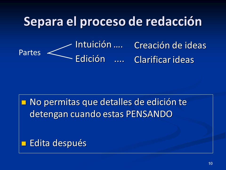 10 Separa el proceso de redacción Intuición …. Edición.... Creación de ideas Clarificar ideas No permitas que detalles de edición te detengan cuando e