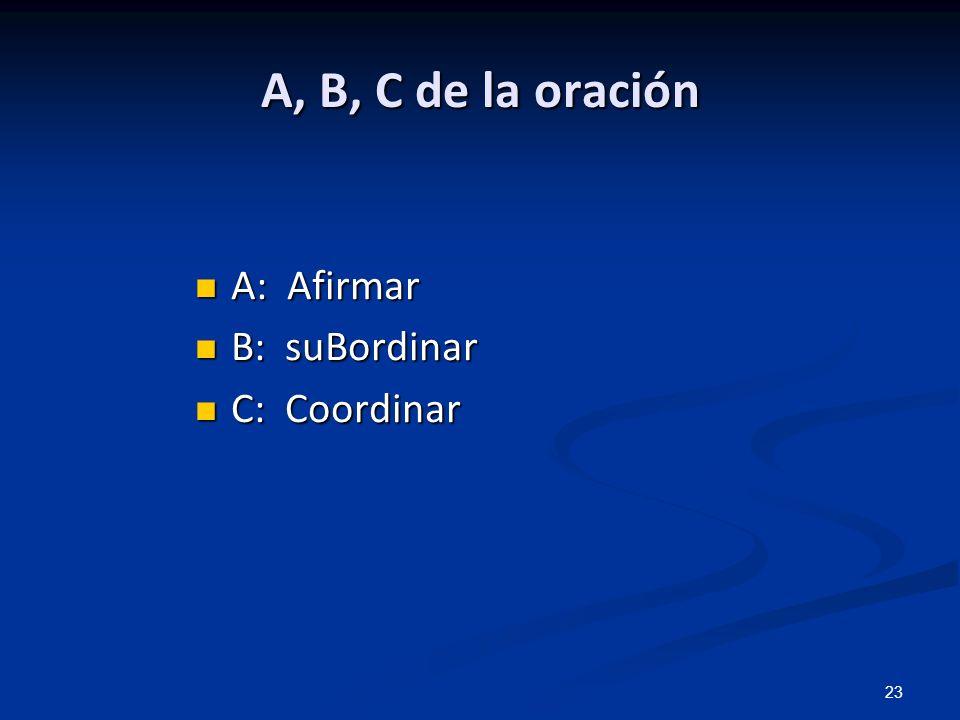 23 A, B, C de la oración A: Afirmar A: Afirmar B: suBordinar B: suBordinar C: Coordinar C: Coordinar