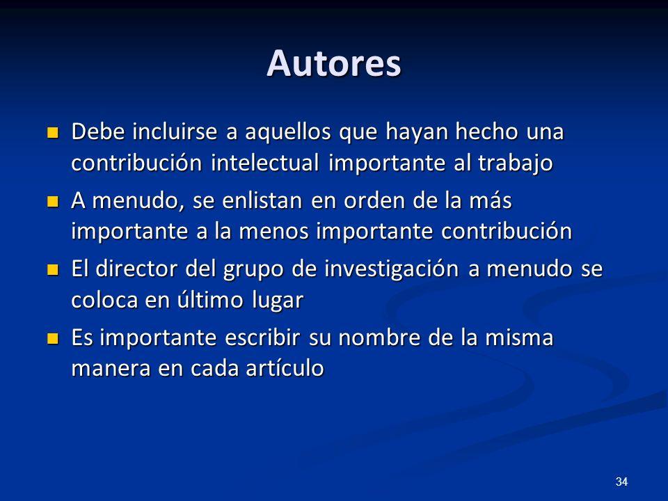 34 Autores Debe incluirse a aquellos que hayan hecho una contribución intelectual importante al trabajo Debe incluirse a aquellos que hayan hecho una