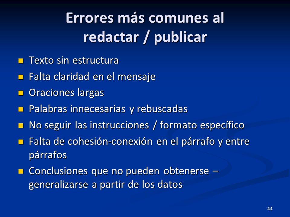 44 Errores más comunes al redactar / publicar Texto sin estructura Texto sin estructura Falta claridad en el mensaje Falta claridad en el mensaje Orac