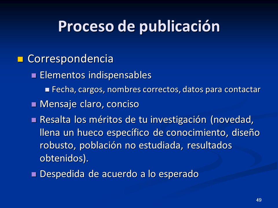 49 Proceso de publicación Correspondencia Correspondencia Elementos indispensables Elementos indispensables Fecha, cargos, nombres correctos, datos pa
