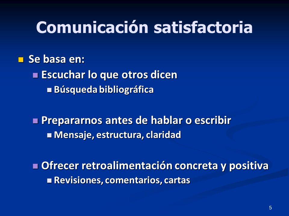 5 Comunicación satisfactoria Se basa en: Se basa en: Escuchar lo que otros dicen Escuchar lo que otros dicen Búsqueda bibliográfica Búsqueda bibliográ