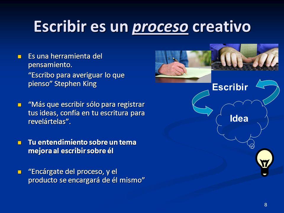 8 Escribir es un proceso creativo Es una herramienta del pensamiento. Es una herramienta del pensamiento. Escribo para averiguar lo que pienso Stephen