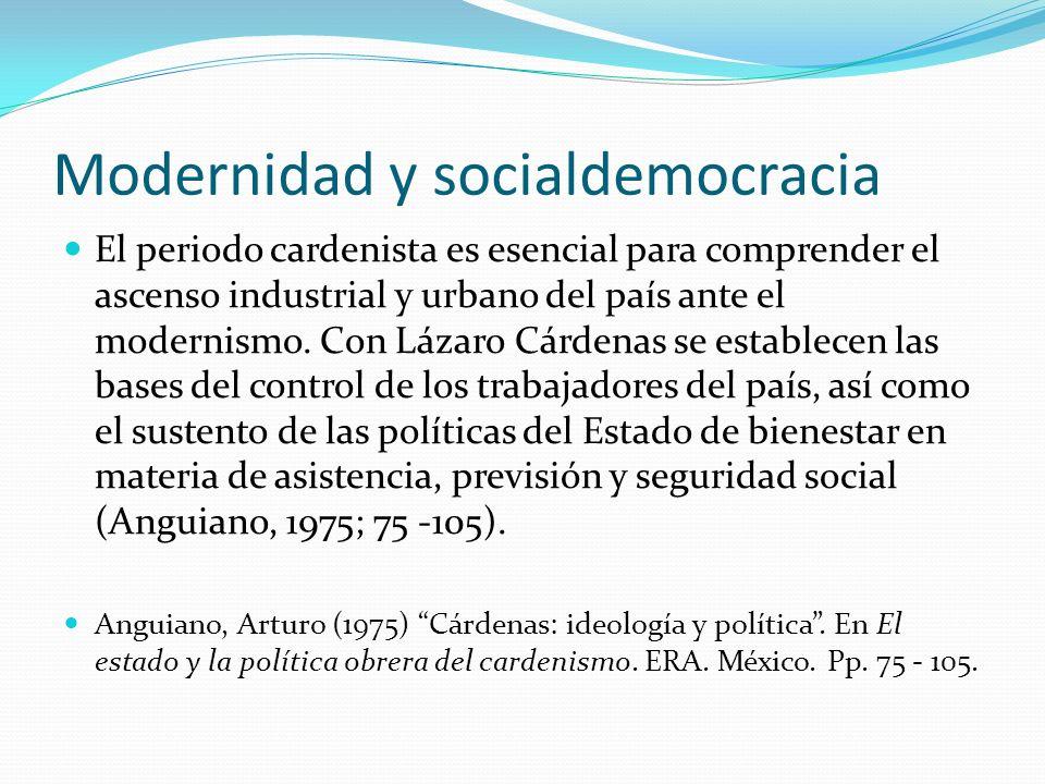 Modernidad y socialdemocracia El periodo cardenista es esencial para comprender el ascenso industrial y urbano del país ante el modernismo. Con Lázaro
