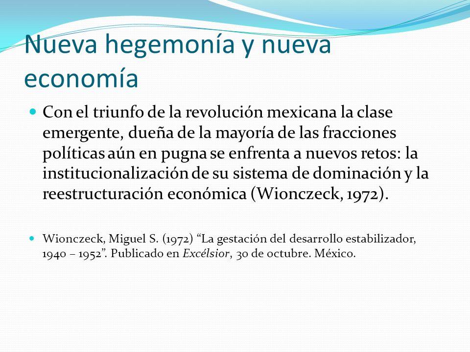 Nueva hegemonía y nueva economía Con el triunfo de la revolución mexicana la clase emergente, dueña de la mayoría de las fracciones políticas aún en p