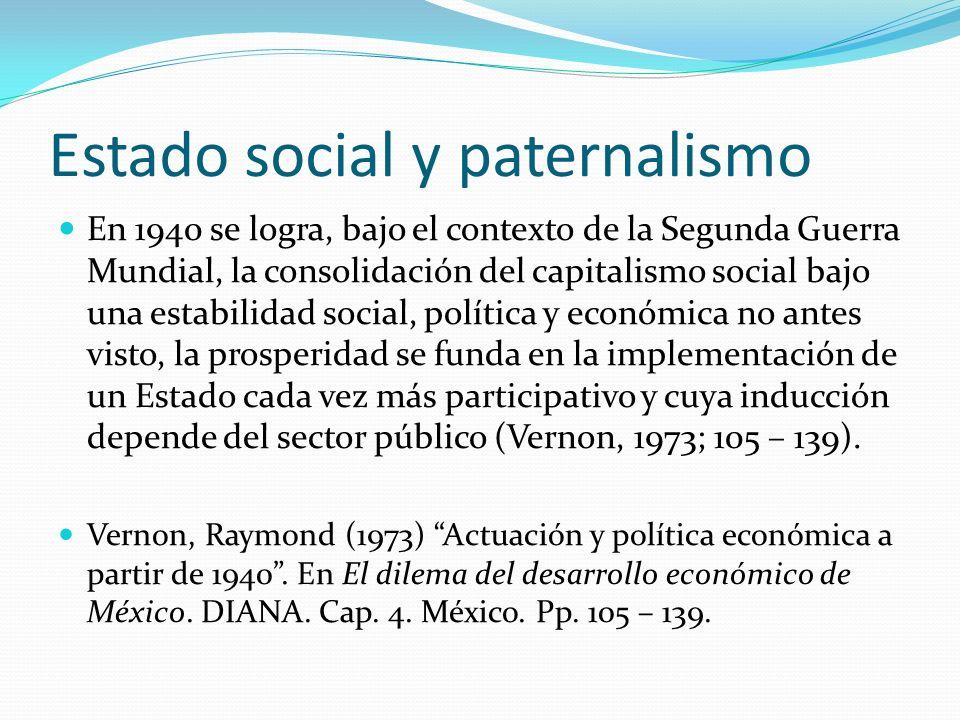 Estado social y paternalismo En 1940 se logra, bajo el contexto de la Segunda Guerra Mundial, la consolidación del capitalismo social bajo una estabil