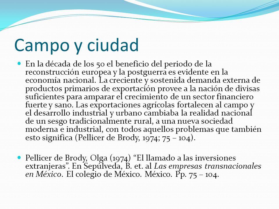Campo y ciudad En la década de los 50 el beneficio del periodo de la reconstrucción europea y la postguerra es evidente en la economía nacional. La cr