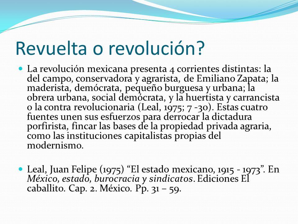 Revuelta o revolución? La revolución mexicana presenta 4 corrientes distintas: la del campo, conservadora y agrarista, de Emiliano Zapata; la maderist