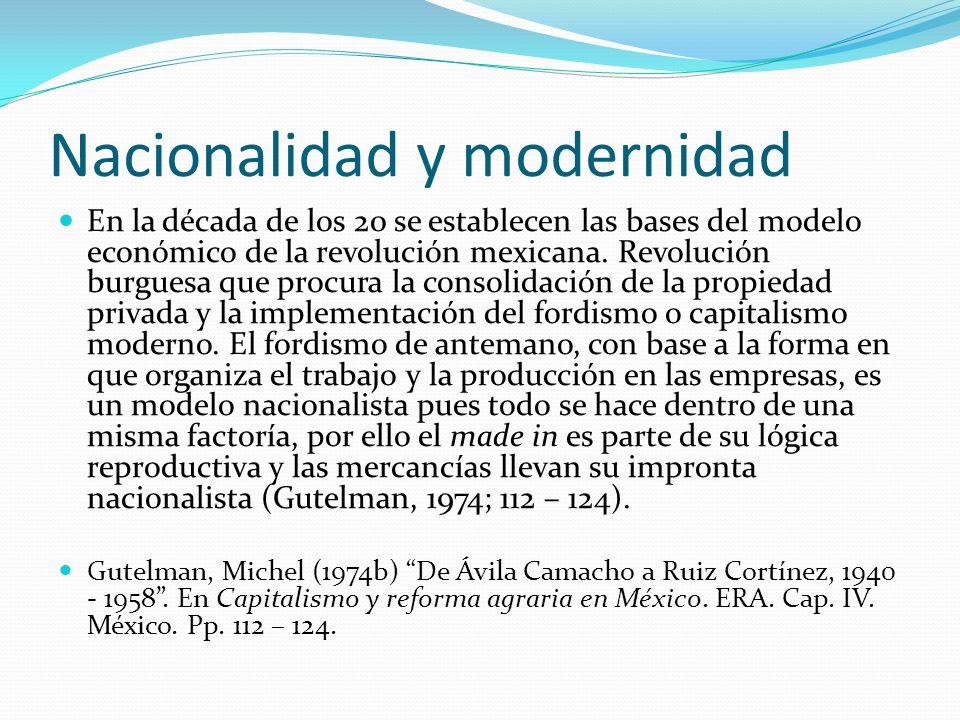 Nacionalidad y modernidad En la década de los 20 se establecen las bases del modelo económico de la revolución mexicana. Revolución burguesa que procu