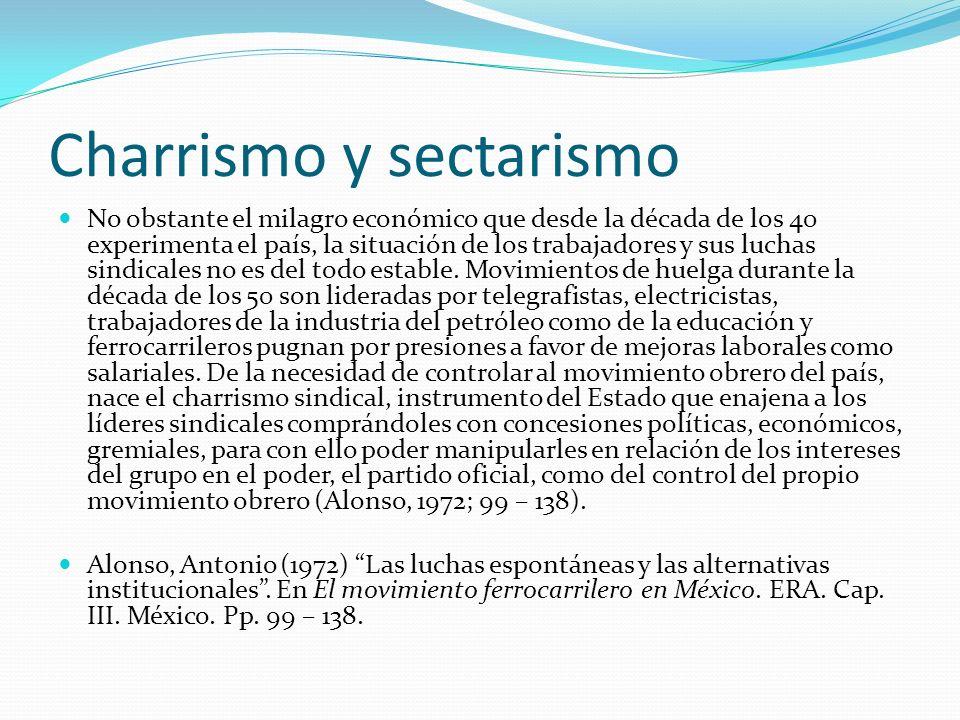 Charrismo y sectarismo No obstante el milagro económico que desde la década de los 40 experimenta el país, la situación de los trabajadores y sus luch