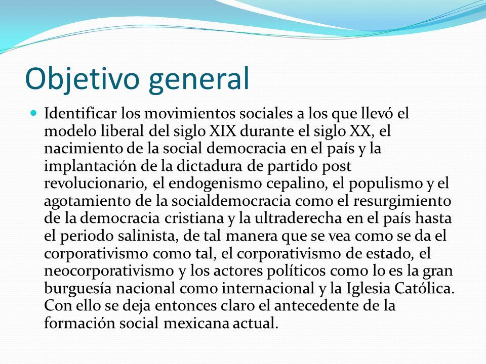 Objetivo general Identificar los movimientos sociales a los que llevó el modelo liberal del siglo XIX durante el siglo XX, el nacimiento de la social