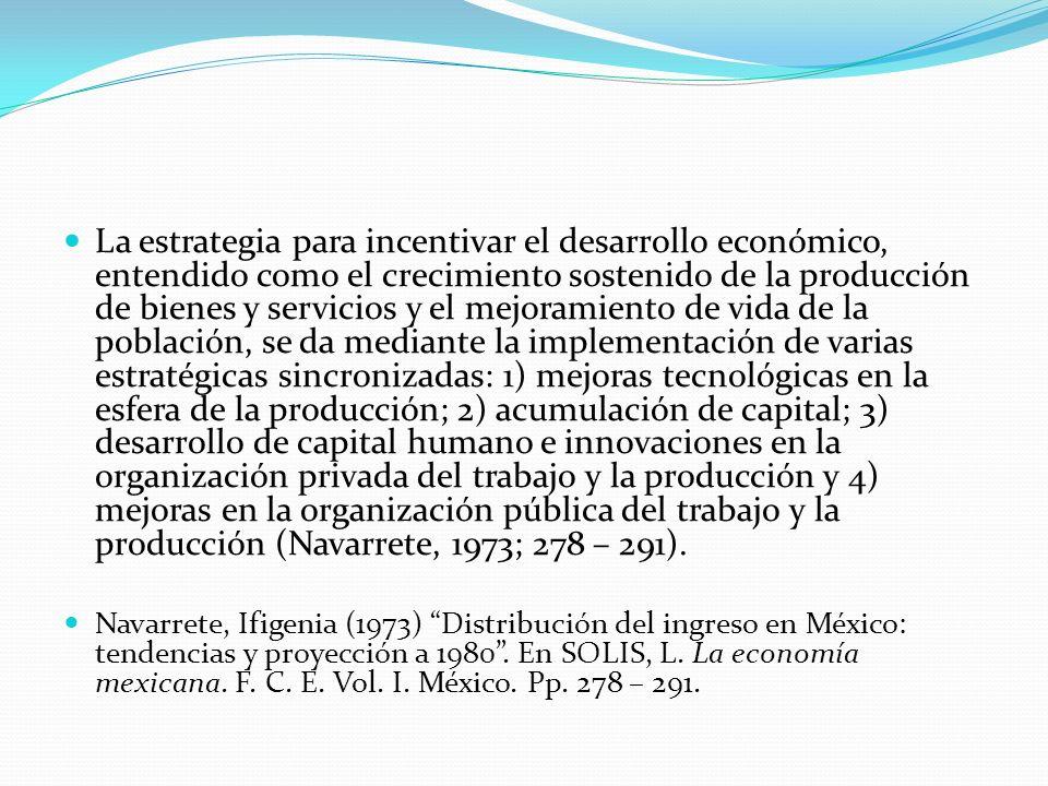 La estrategia para incentivar el desarrollo económico, entendido como el crecimiento sostenido de la producción de bienes y servicios y el mejoramient