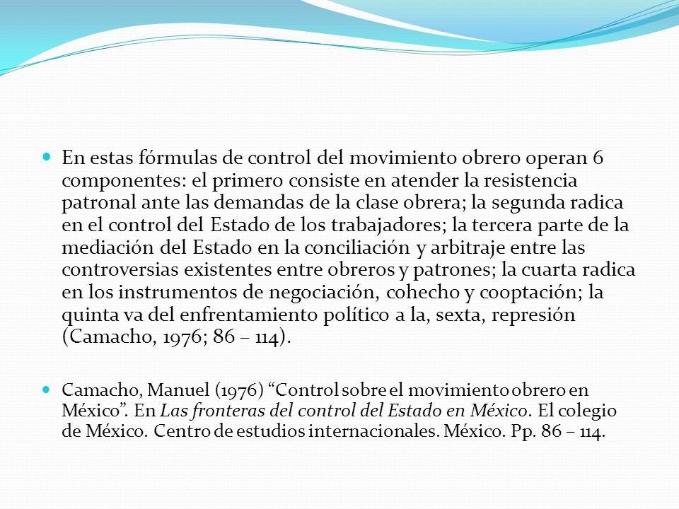 En estas fórmulas de control del movimiento obrero operan 6 componentes: el primero consiste en atender la resistencia patronal ante las demandas de l