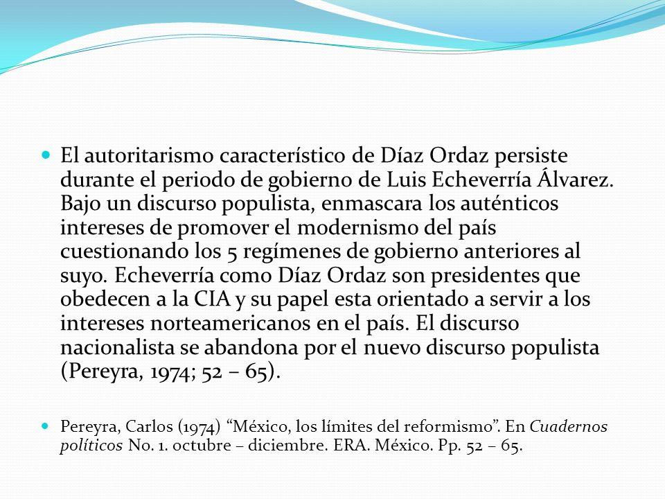 El autoritarismo característico de Díaz Ordaz persiste durante el periodo de gobierno de Luis Echeverría Álvarez. Bajo un discurso populista, enmascar