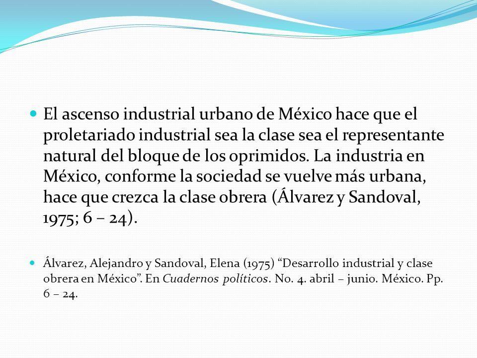 El ascenso industrial urbano de México hace que el proletariado industrial sea la clase sea el representante natural del bloque de los oprimidos. La i