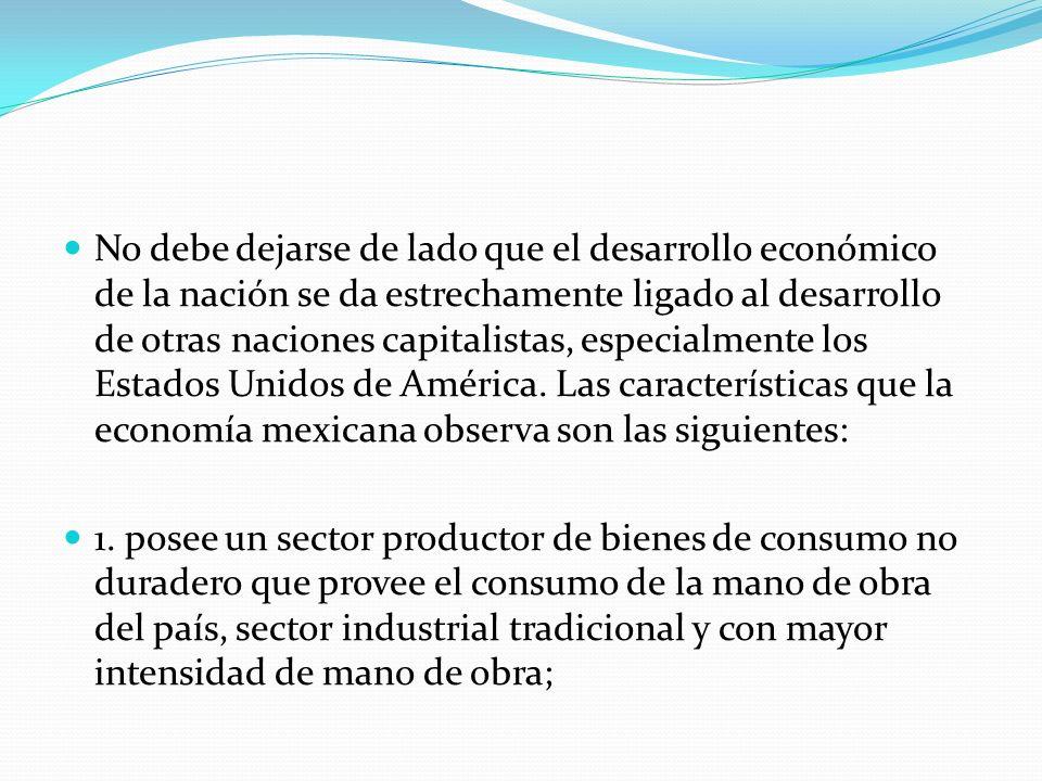 No debe dejarse de lado que el desarrollo económico de la nación se da estrechamente ligado al desarrollo de otras naciones capitalistas, especialment