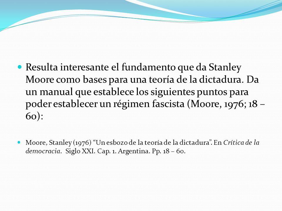 Resulta interesante el fundamento que da Stanley Moore como bases para una teoría de la dictadura. Da un manual que establece los siguientes puntos pa