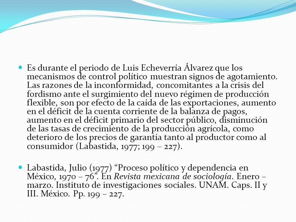Es durante el periodo de Luis Echeverría Álvarez que los mecanismos de control político muestran signos de agotamiento. Las razones de la inconformida