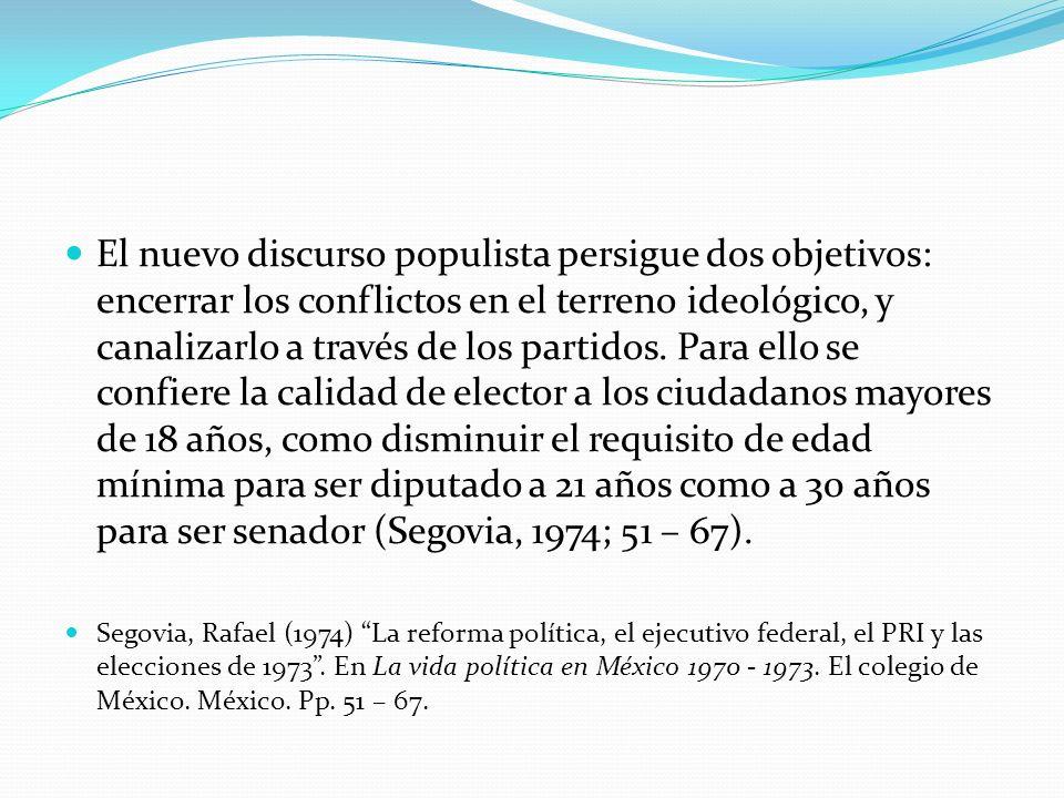 El nuevo discurso populista persigue dos objetivos: encerrar los conflictos en el terreno ideológico, y canalizarlo a través de los partidos. Para ell
