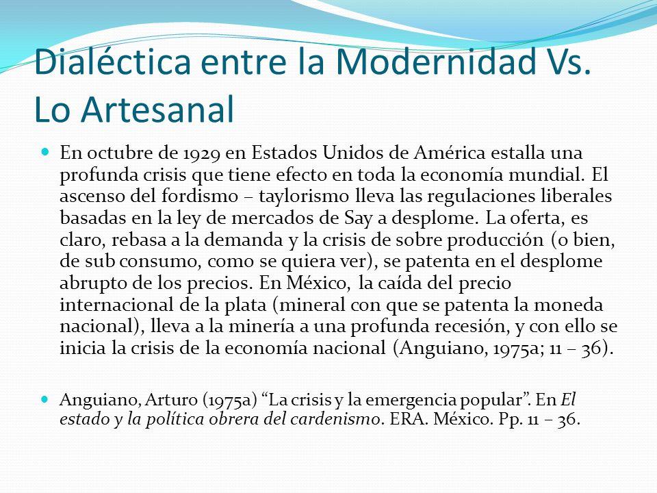 Dialéctica entre la Modernidad Vs. Lo Artesanal En octubre de 1929 en Estados Unidos de América estalla una profunda crisis que tiene efecto en toda l