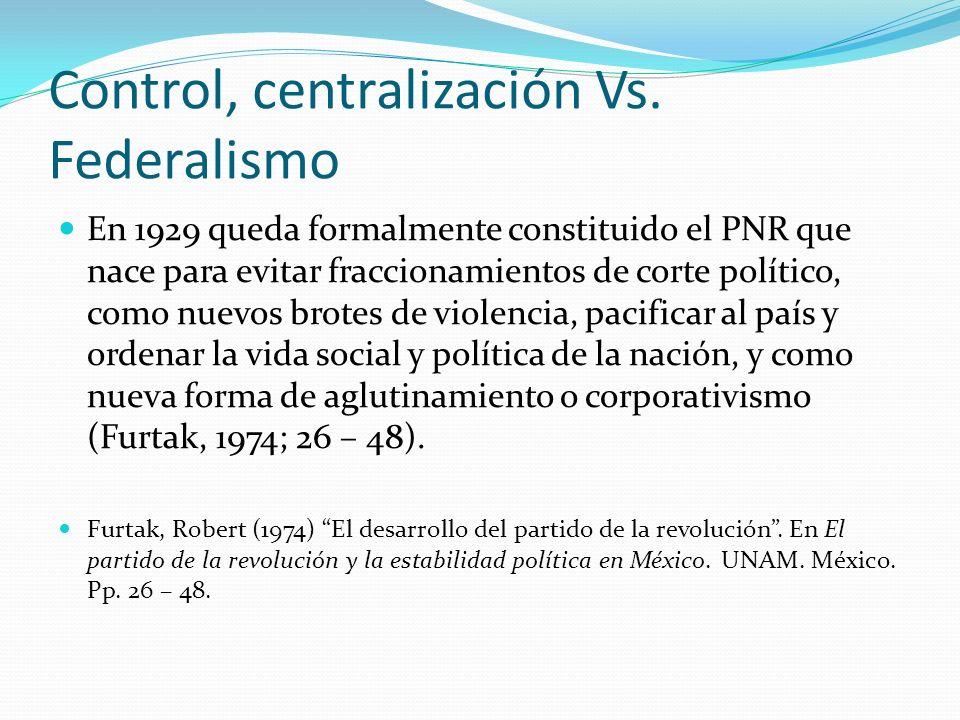 Control, centralización Vs. Federalismo En 1929 queda formalmente constituido el PNR que nace para evitar fraccionamientos de corte político, como nue