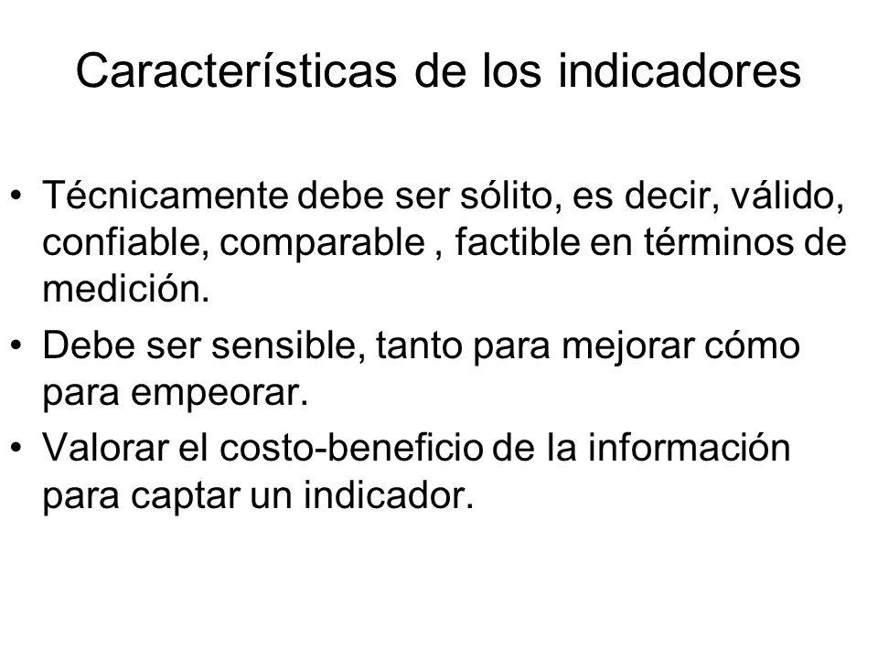 Características de los indicadores Técnicamente debe ser sólito, es decir, válido, confiable, comparable, factible en términos de medición.
