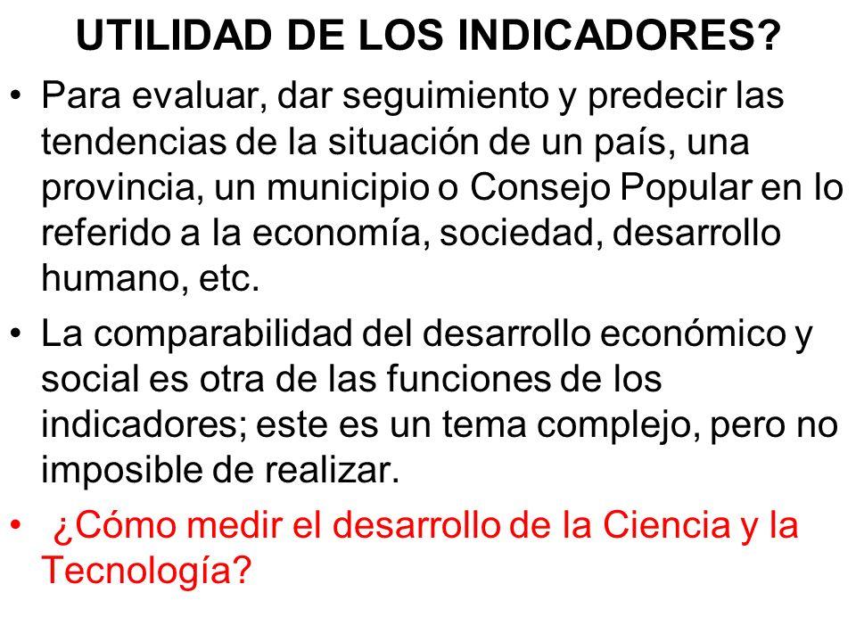 UTILIDAD DE LOS INDICADORES.