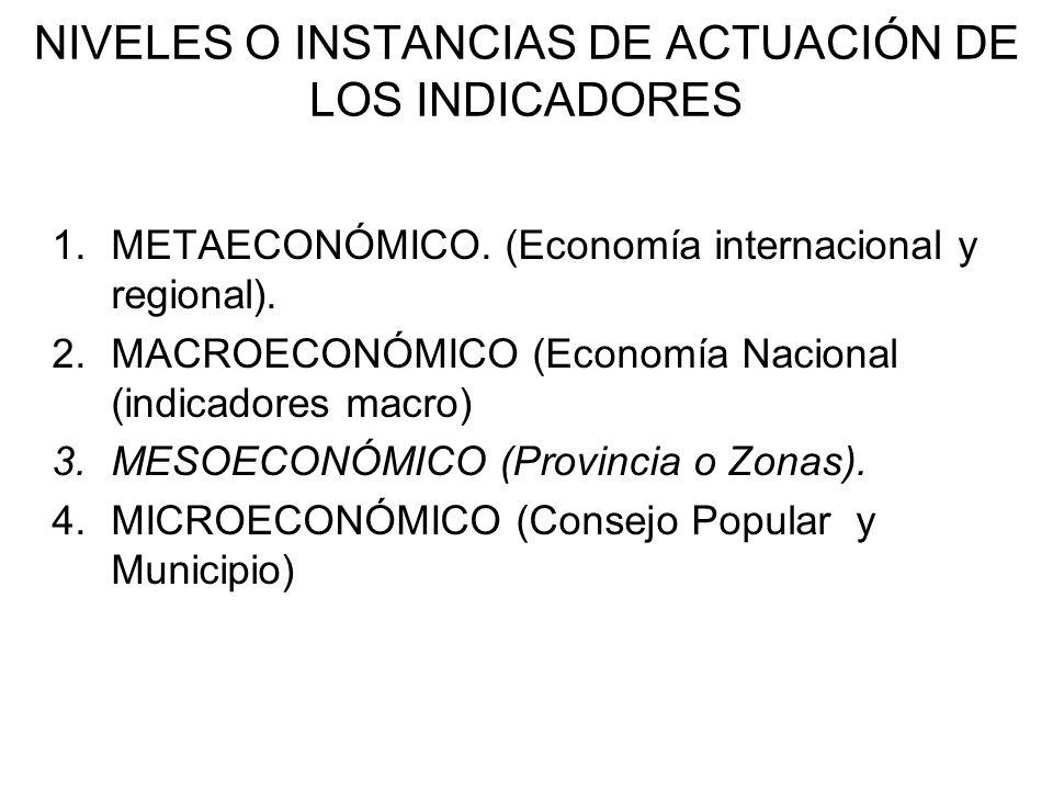 NIVELES O INSTANCIAS DE ACTUACIÓN DE LOS INDICADORES 1.METAECONÓMICO.