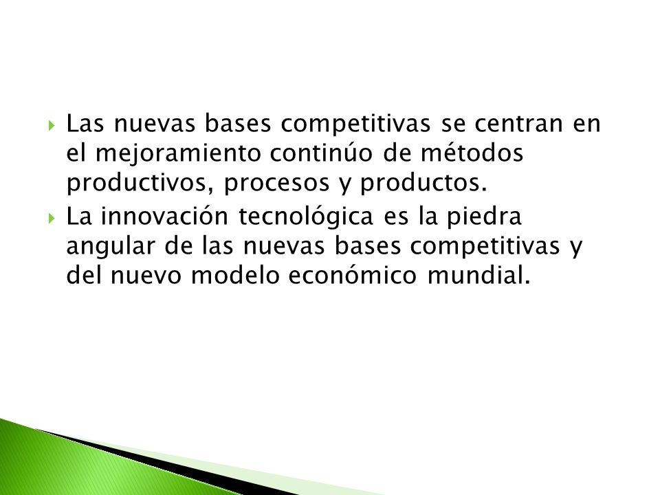 Las nuevas bases competitivas se centran en el mejoramiento continúo de métodos productivos, procesos y productos. La innovación tecnológica es la pie