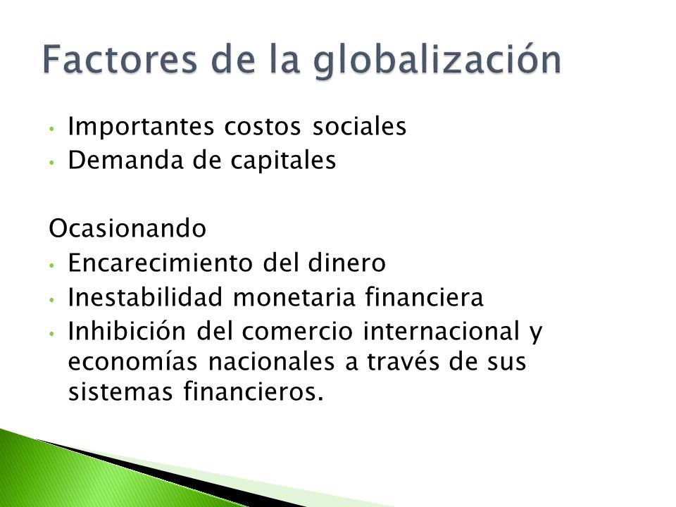 Importantes costos sociales Demanda de capitales Ocasionando Encarecimiento del dinero Inestabilidad monetaria financiera Inhibición del comercio inte