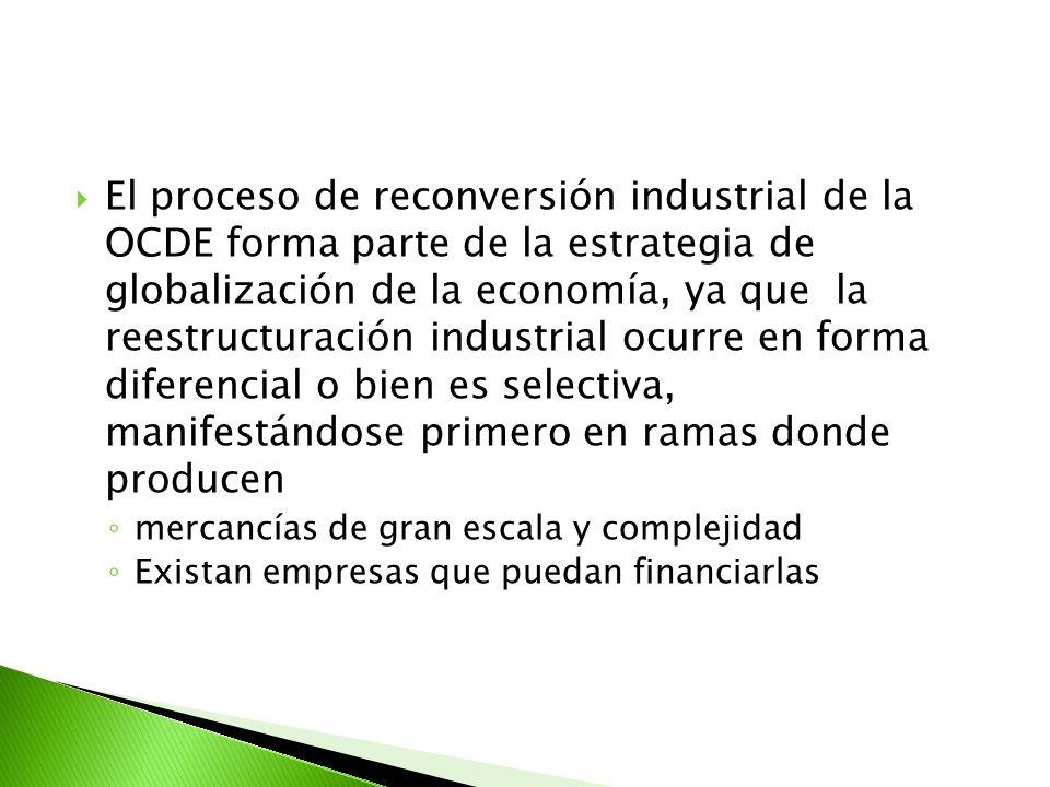 El proceso de reconversión industrial de la OCDE forma parte de la estrategia de globalización de la economía, ya que la reestructuración industrial o