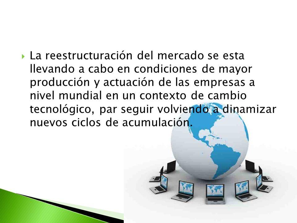 La reestructuración del mercado se esta llevando a cabo en condiciones de mayor producción y actuación de las empresas a nivel mundial en un contexto