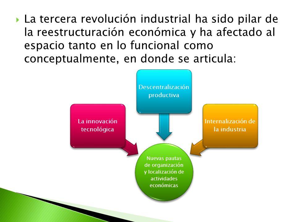 La tercera revolución industrial ha sido pilar de la reestructuración económica y ha afectado al espacio tanto en lo funcional como conceptualmente, e