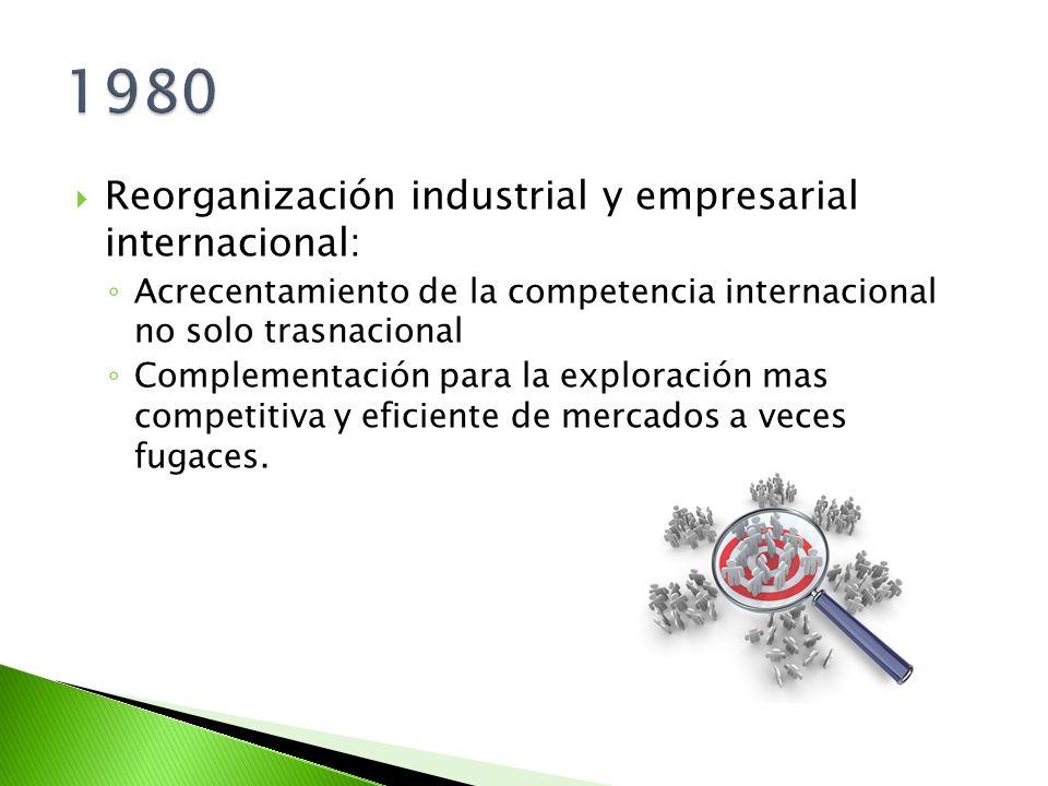 Reorganización industrial y empresarial internacional: Acrecentamiento de la competencia internacional no solo trasnacional Complementación para la ex