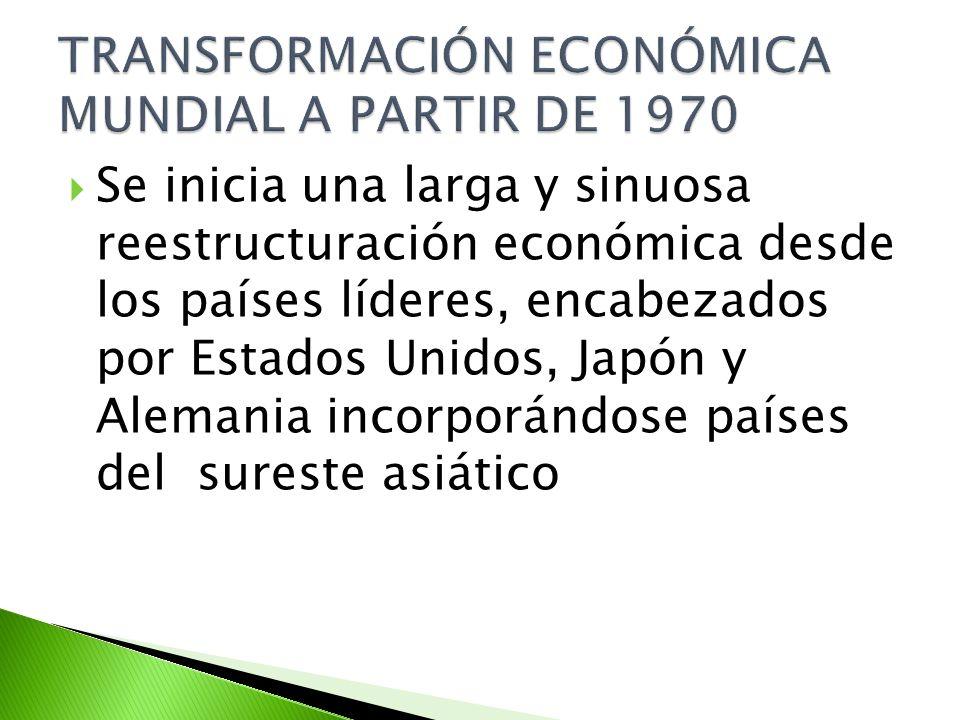 Se inicia una larga y sinuosa reestructuración económica desde los países líderes, encabezados por Estados Unidos, Japón y Alemania incorporándose paí