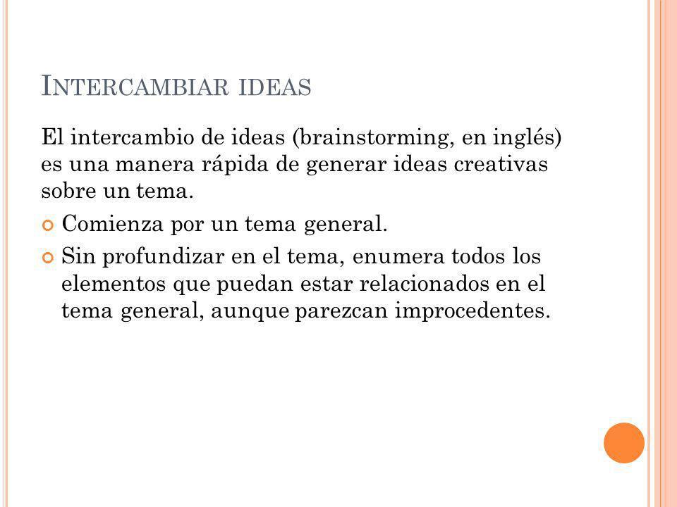 I NTERCAMBIAR IDEAS El intercambio de ideas (brainstorming, en inglés) es una manera rápida de generar ideas creativas sobre un tema.