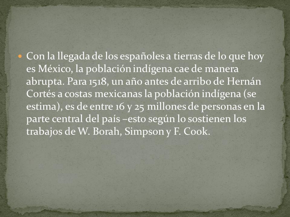 Con la llegada de los españoles a tierras de lo que hoy es México, la población indígena cae de manera abrupta. Para 1518, un año antes de arribo de H