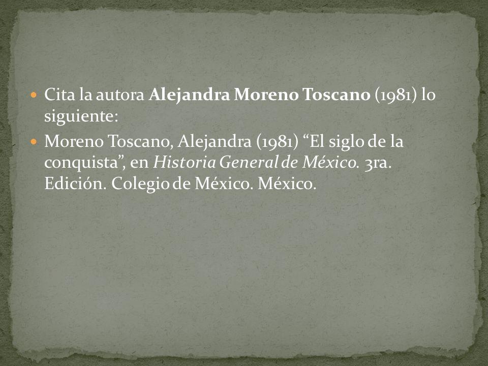 Cita la autora Alejandra Moreno Toscano (1981) lo siguiente: Moreno Toscano, Alejandra (1981) El siglo de la conquista, en Historia General de México.