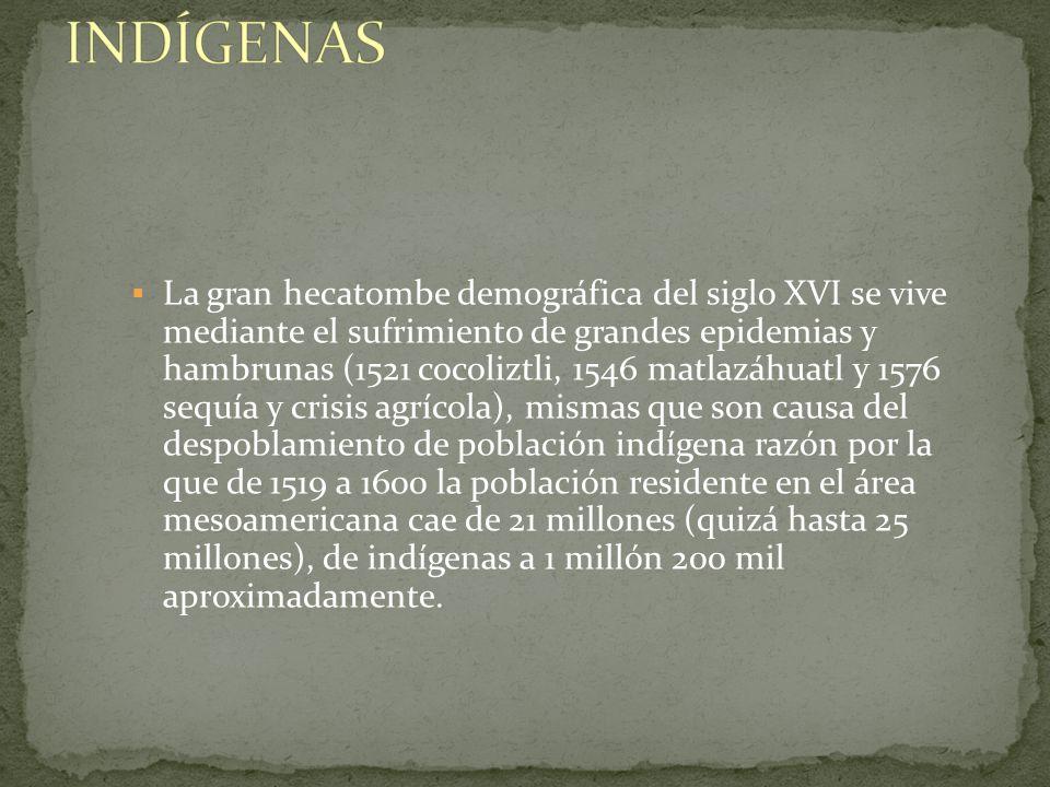 La gran hecatombe demográfica del siglo XVI se vive mediante el sufrimiento de grandes epidemias y hambrunas (1521 cocoliztli, 1546 matlazáhuatl y 157